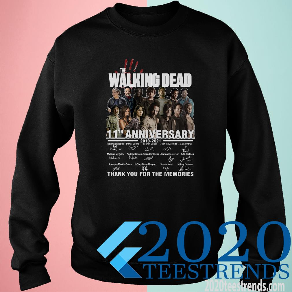 The Walking Dead 11th Anniversary 2010 2021 Thank You For The Memories Signatures Sweater