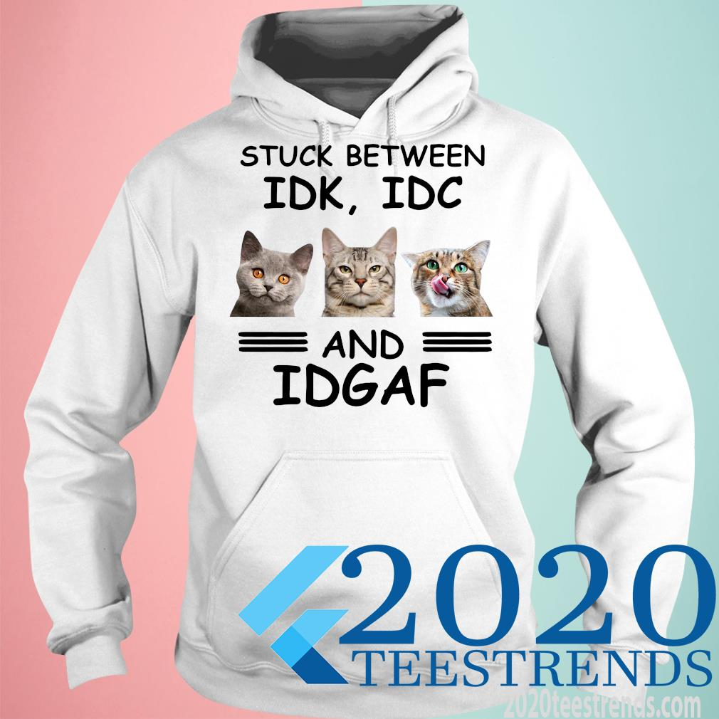 Cat Stuck Between Idk Idc And Idgaf Funny Shirt hoodie