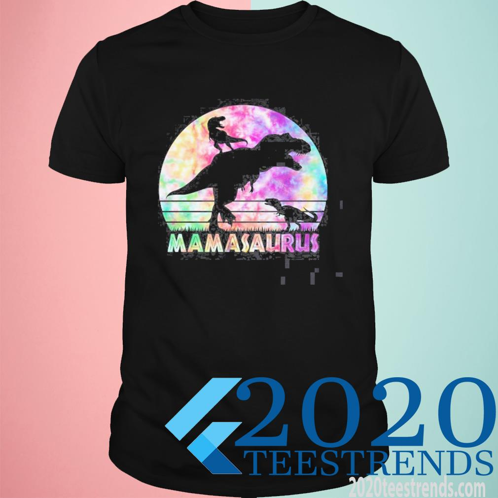 Mamasaurus Tie Dye Sunset Funny Dinosaur Mother Of 2 Kids Shirt