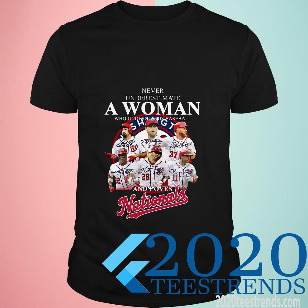 Never Underestimate A Woman Who Understands Baseball And Loves Nationals Shirt
