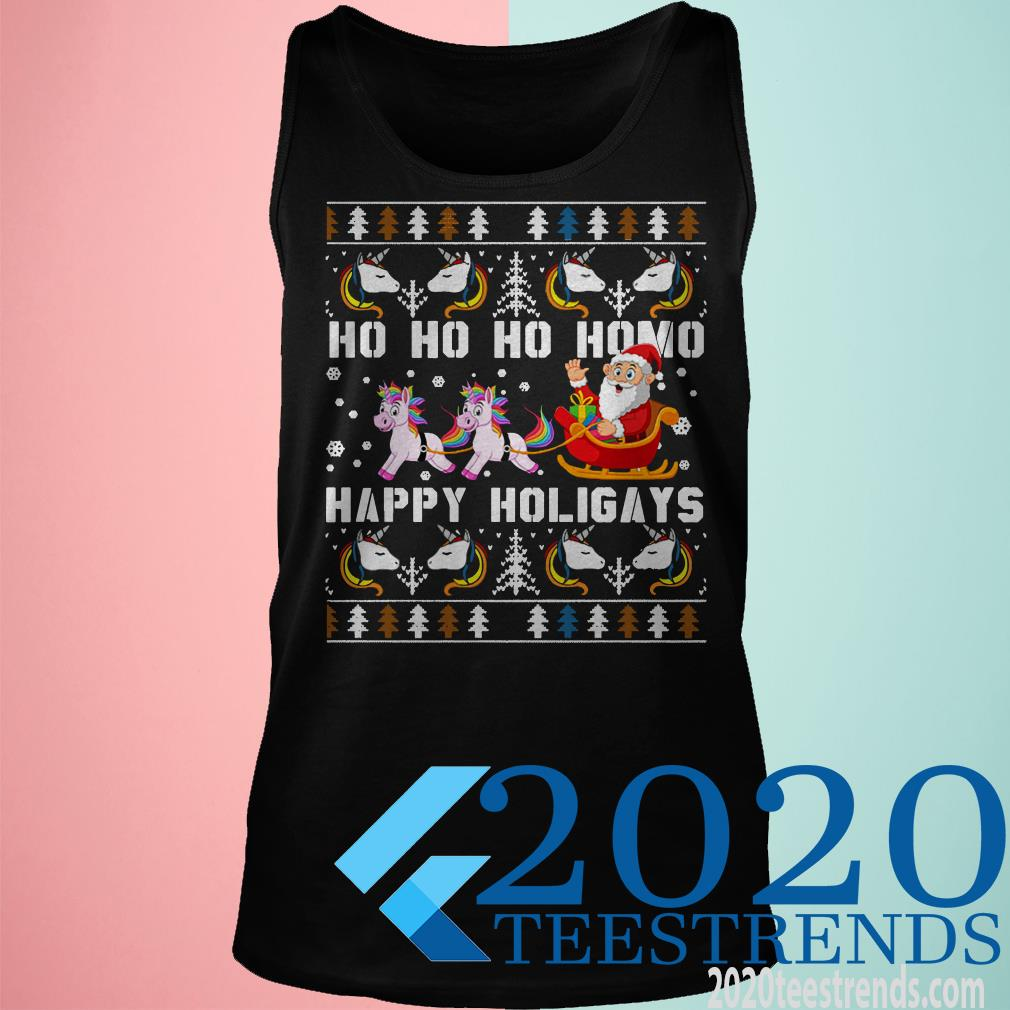 Ho Ho Ho Homo Happy Holigays Santa Unicorn LGBT Pride Shirt