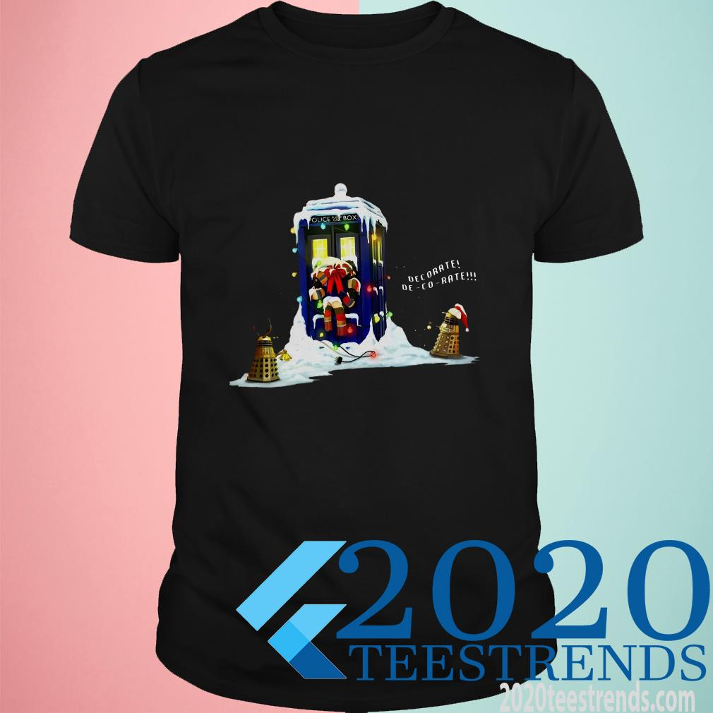 Police Box Dr Who Christmas Decorate Black Cotton Men Shirt