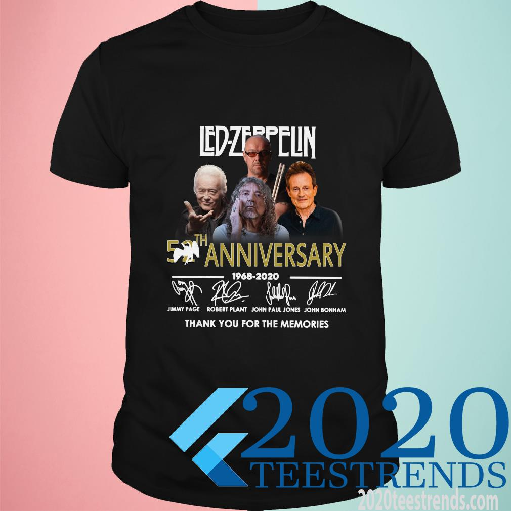 Led-Zeppelin 52th Anniversary 1968-2020 Thank You For The Memories Signature Shirt