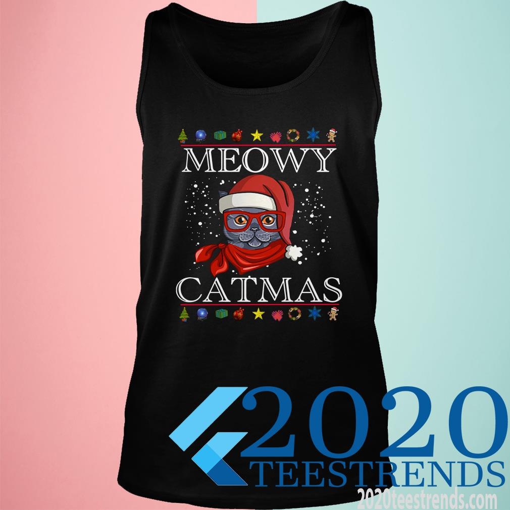 Meowy Happy Christmas Cat Lover Gift Shirt
