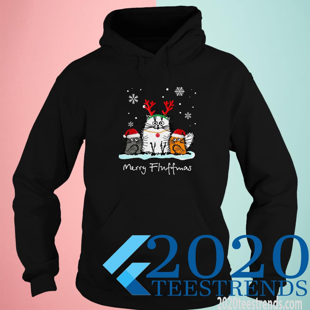 Christmas Cute Santa Cat Apparel Merry Fluffmas With Antlers Shirt