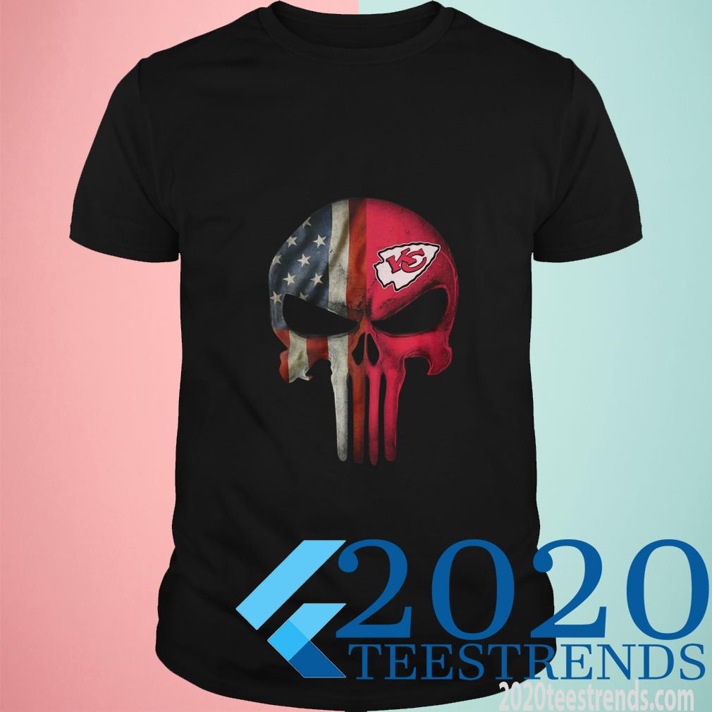 Kansas City Chiefs American Flag Punisher Skull T-Shirt