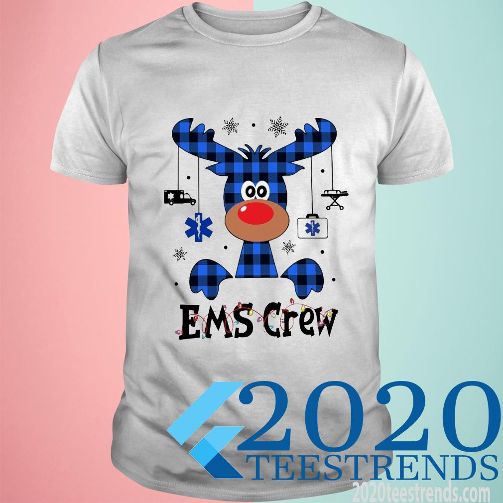 Ems Crew Christmas Reindeer With Gift T-Shirt
