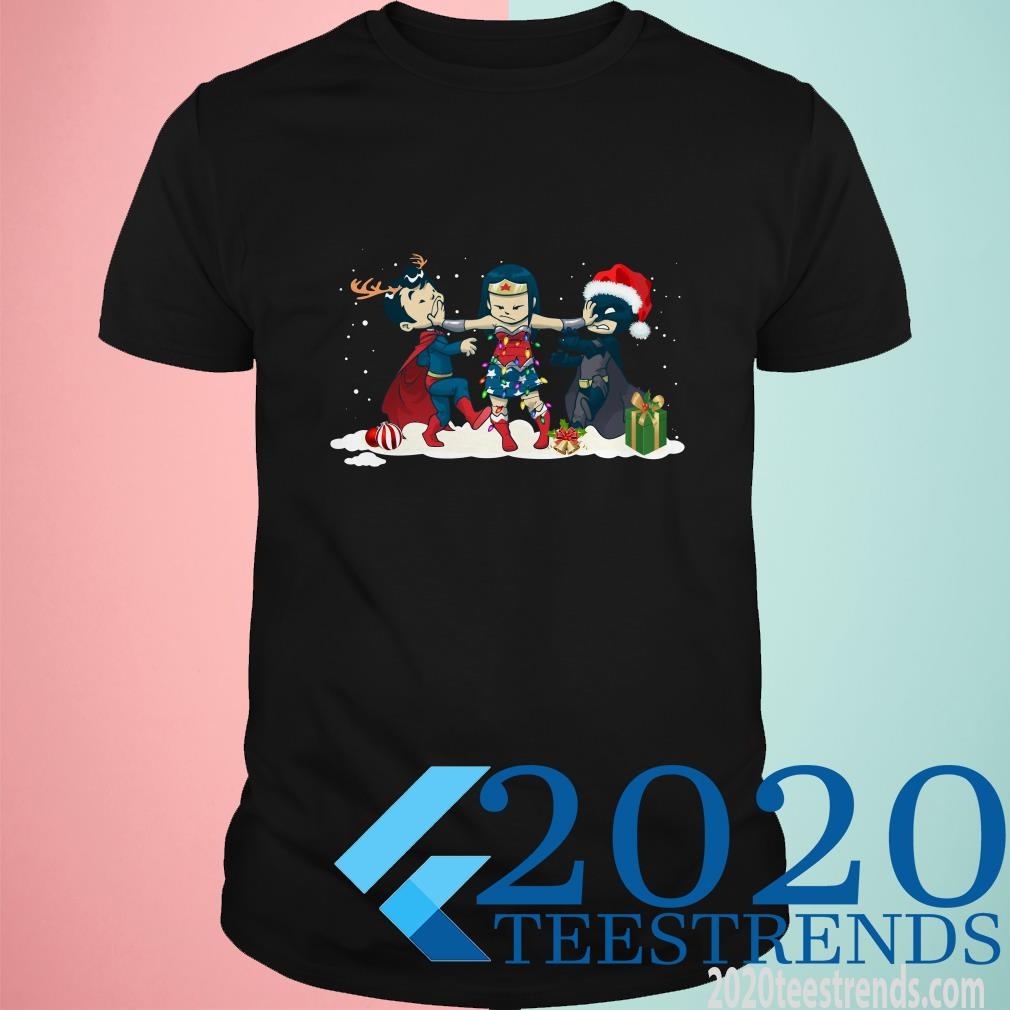 Wonder Woman Captain America Batman and Superman Christmas Shirt