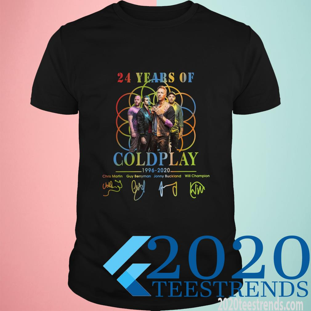 24 Year Of Coldplay 1996 2020 Signatures Shirt