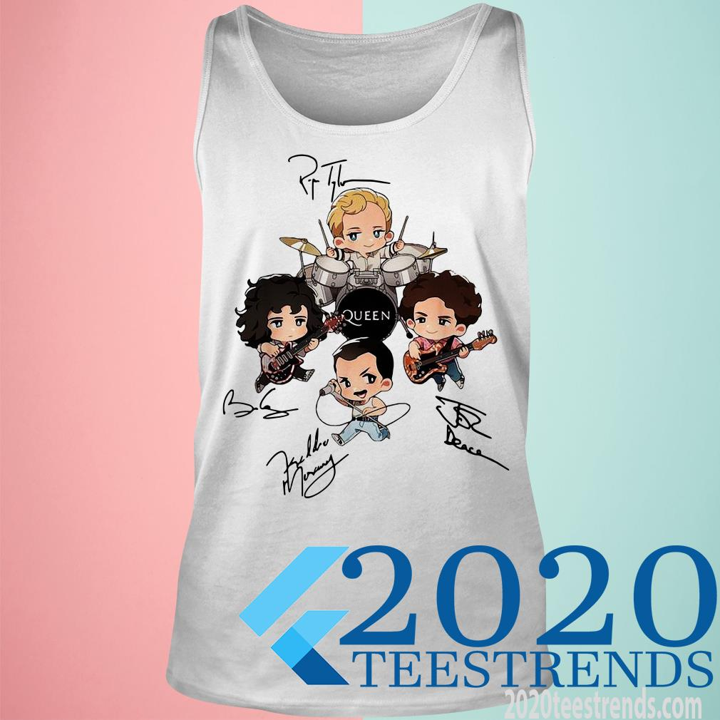 This is the Official Queen Band Chibi Friends Signature Shirt, hoodie, tank top, sweatshirt, long sleeve and tank top. Printed in the USA click here to buy this shirt