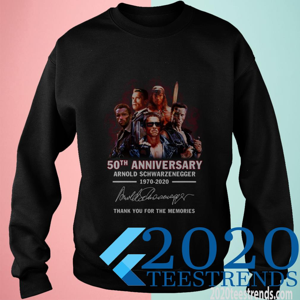 50th Anniversary Arnold Schwarzenegger 1970-2020 Thank You For The Memories Signature Shirt
