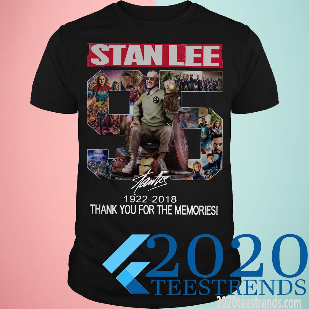 95 Years Of Stan Lee Thank You For The Memories Signature T-Shirt