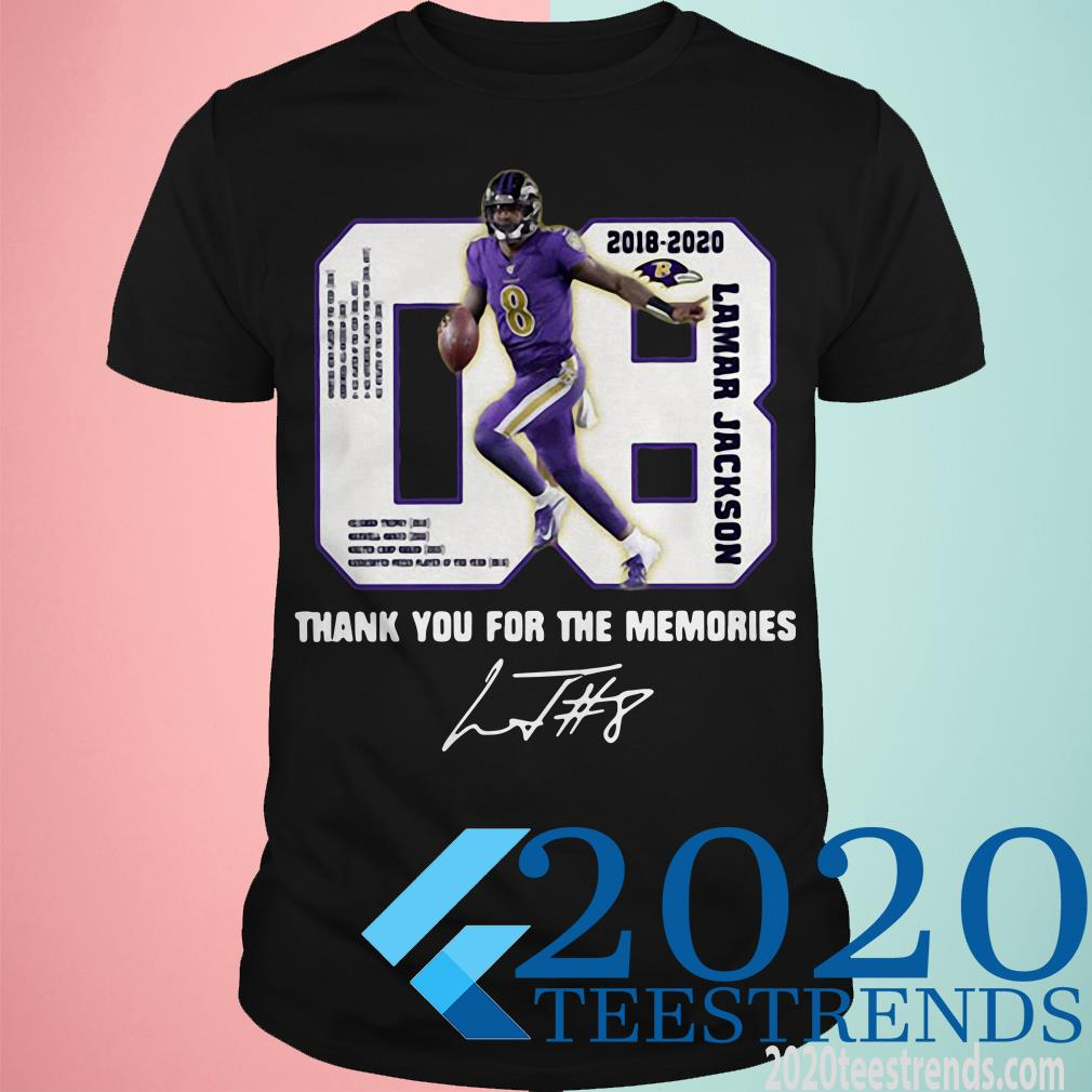08 Lamar Jackson 2018-2020 Thank You For The Memories Signature T-Shirt