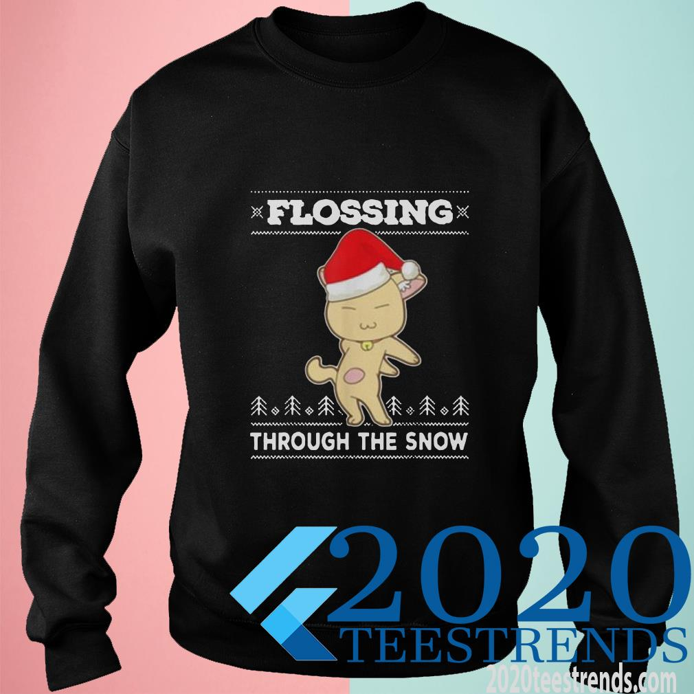 Awesome Flossing Through The Snow Cat Ugly Christmas Sweater