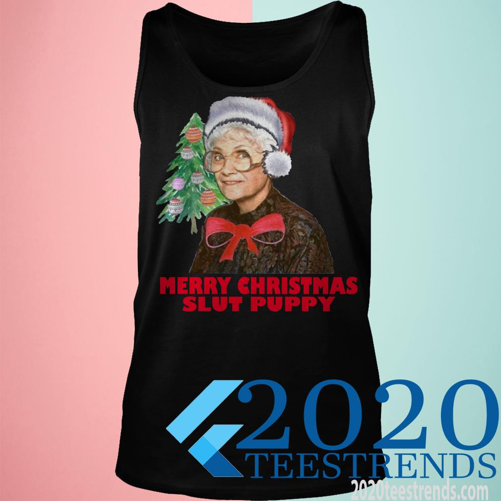 Golden Girls Funny Christmas Graphic Shirts Merry Christmas Slut Puppy Sweater