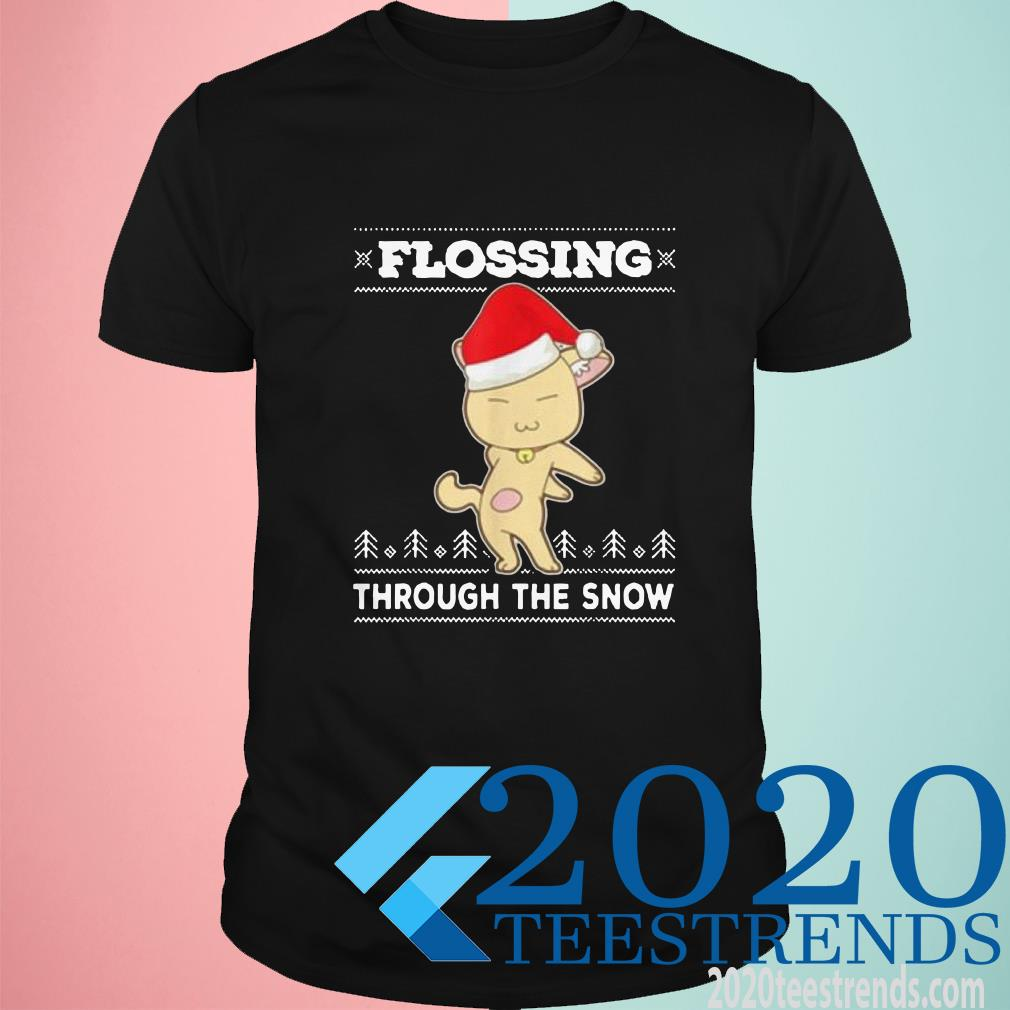 Awesome Flossing Through The Snow Cat Ugly Christmas T-Shirt