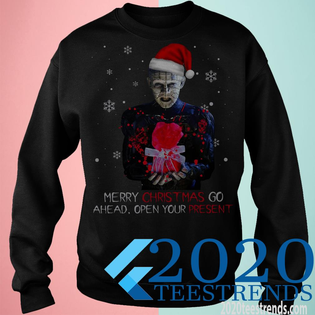 This is the Official Santa Hellraiser Merry Christmas Go Ahead Open Your Present Sweater, hoodie, tank top, sweatshirt, long sleeve and tank top. Printed in the USA click here to buy this shirt