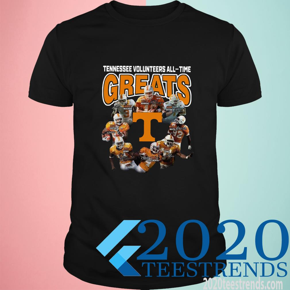 Tennessee Volunteers football All-time Greats Players Signatures T-Shirt