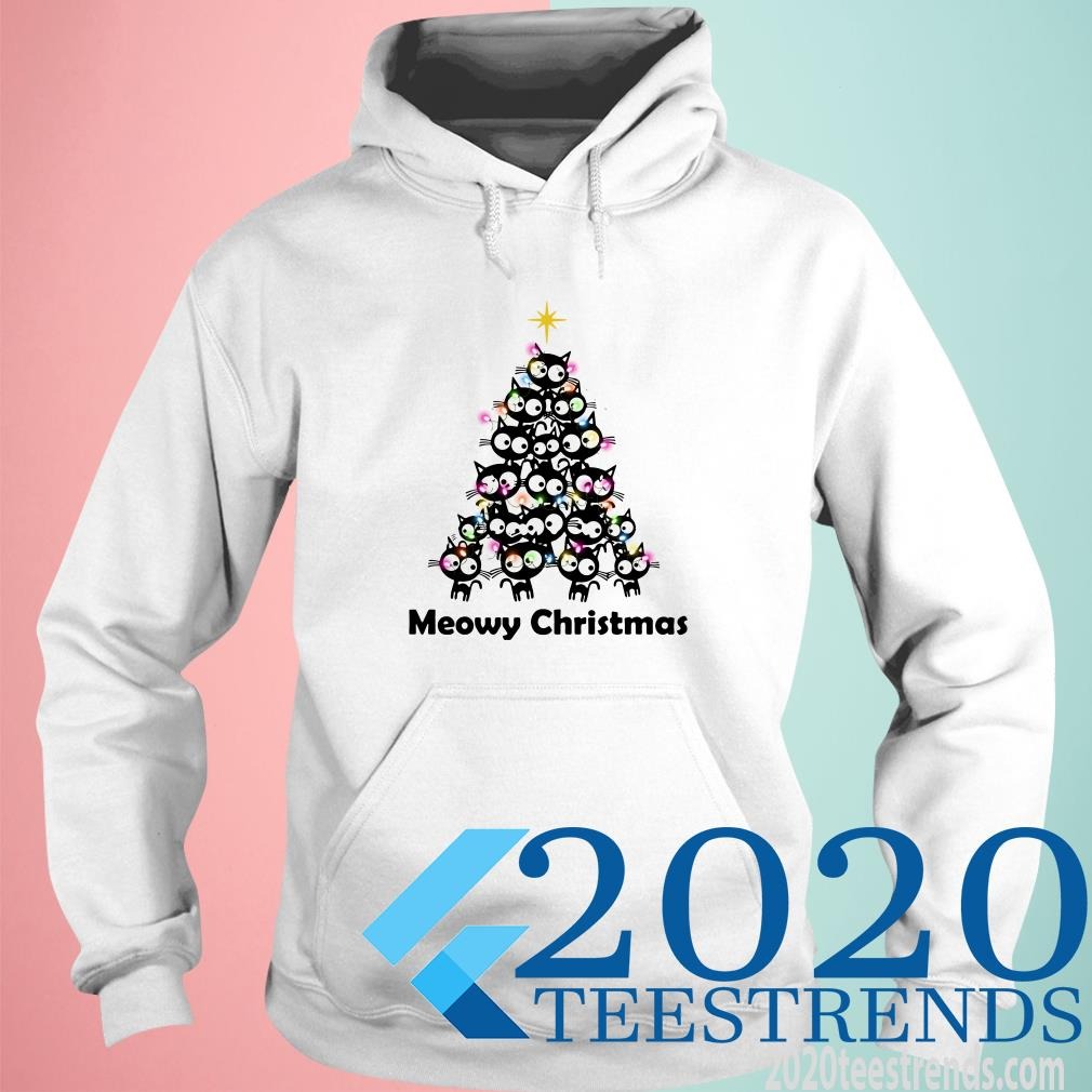 Meowy Christmas Black Cat Christmas Tree Hoodie