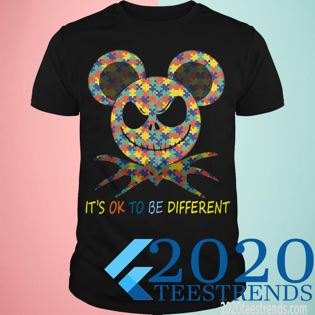 Autism Awareness Jack Skellington Mickey It's Ok To Be Different T-Shirt