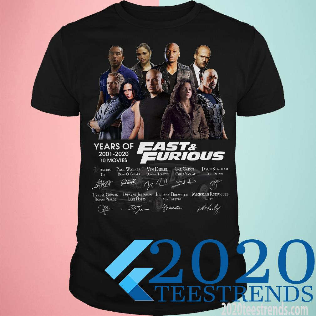 19 Years Of Fast And Furious 2001 2020 10 Movies Signature Shirt