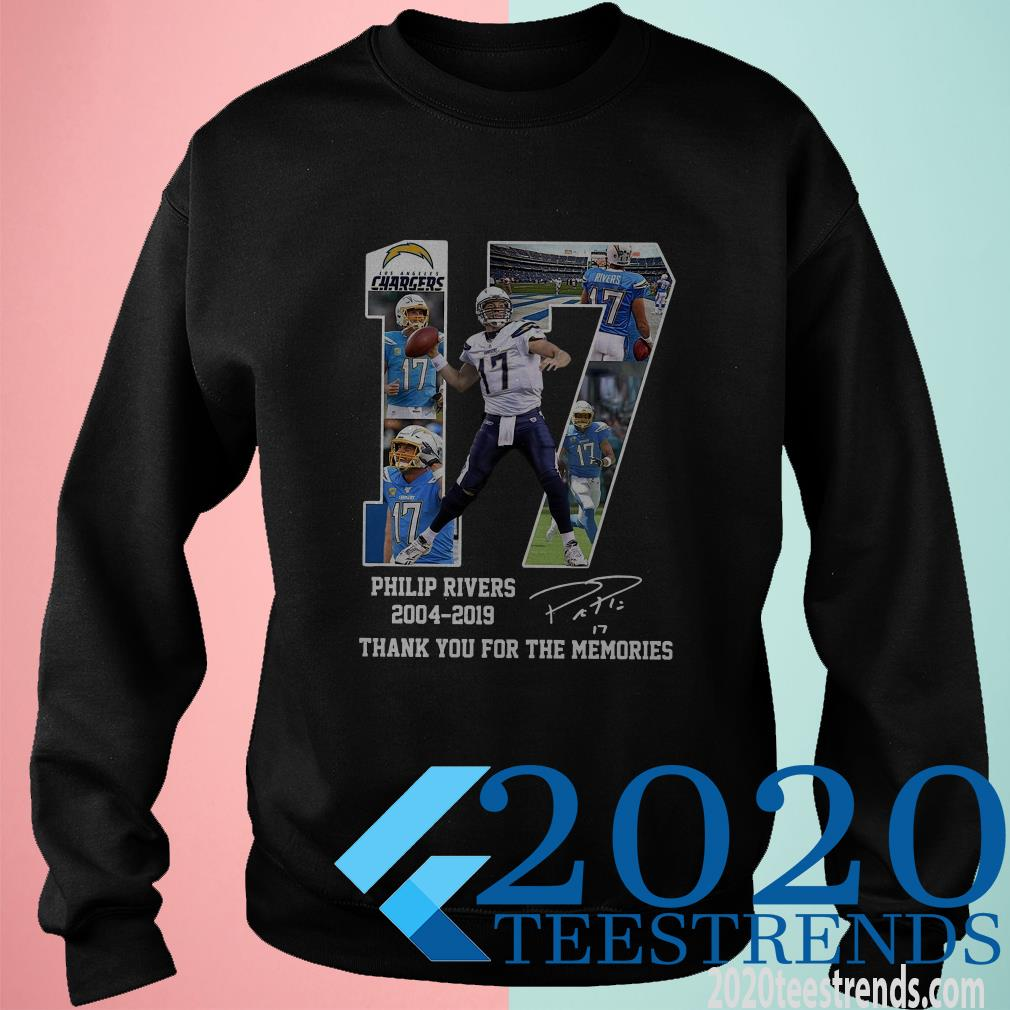 17 Philip Rivers 2004 2019 Thank You For The Memories Signature Shirt