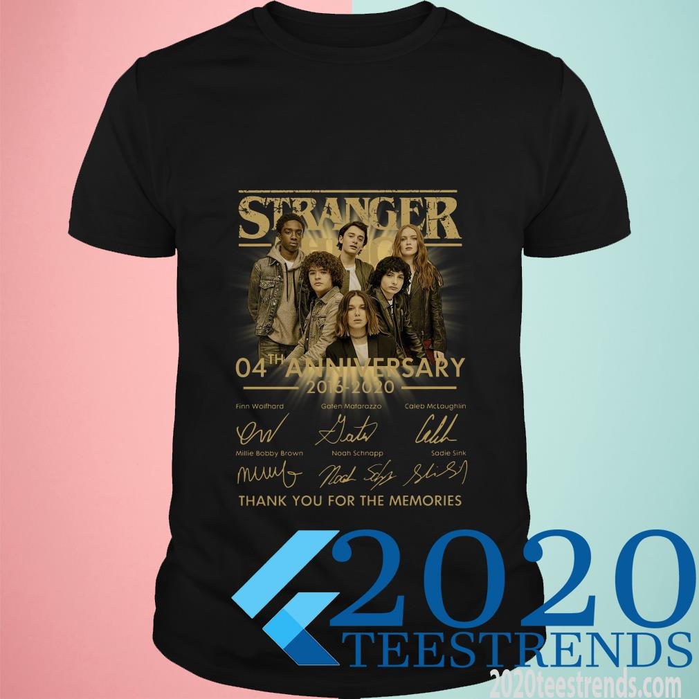 Stranger Things 04th Anniversary 2016-2020 Signatures Thank You For The Memories Shirt