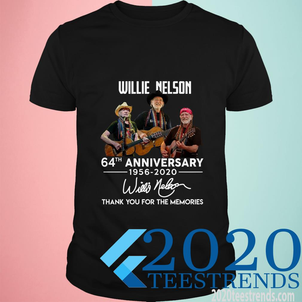 Willie Nelson 64th Anniversary 1956-2020 Signature Thank You For The Memories Shirt