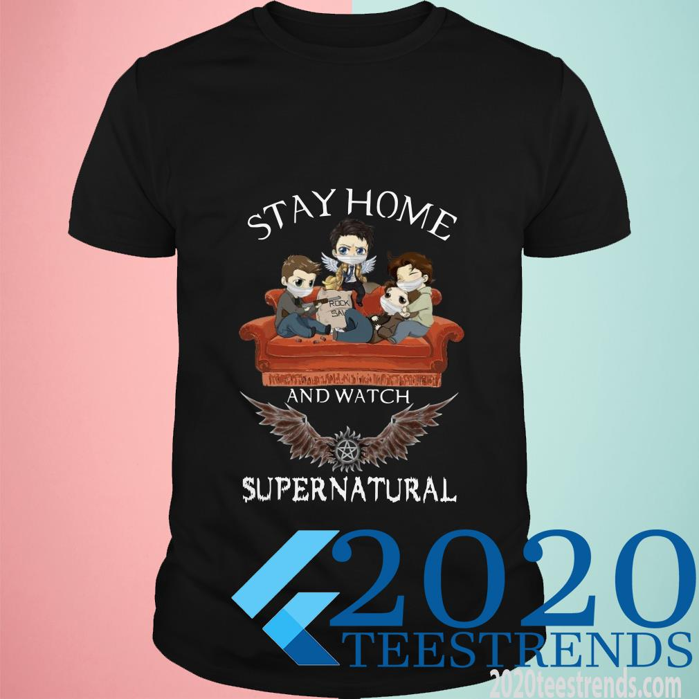 Stay Home And Watch Supernatural Mask In Sofa Covid-19 T-Shirt
