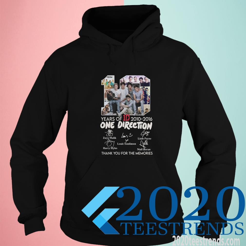 10 Years Of 1d 2010 2016 One Direction Thank You For The Memories Signatures Shirt