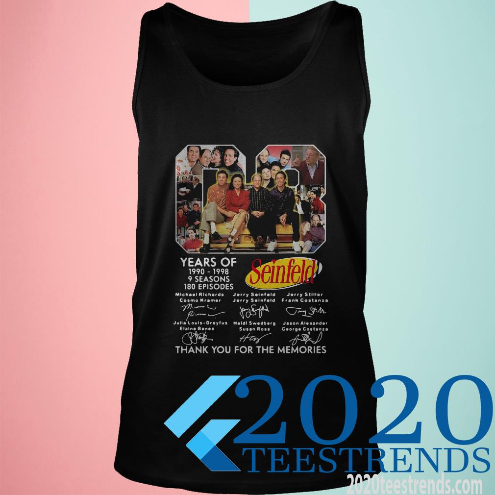 08 Years Of 1990 1998 9 Seasons 180 Episodes Seinfeld Thank You For The Memories Signatures T-Shirt