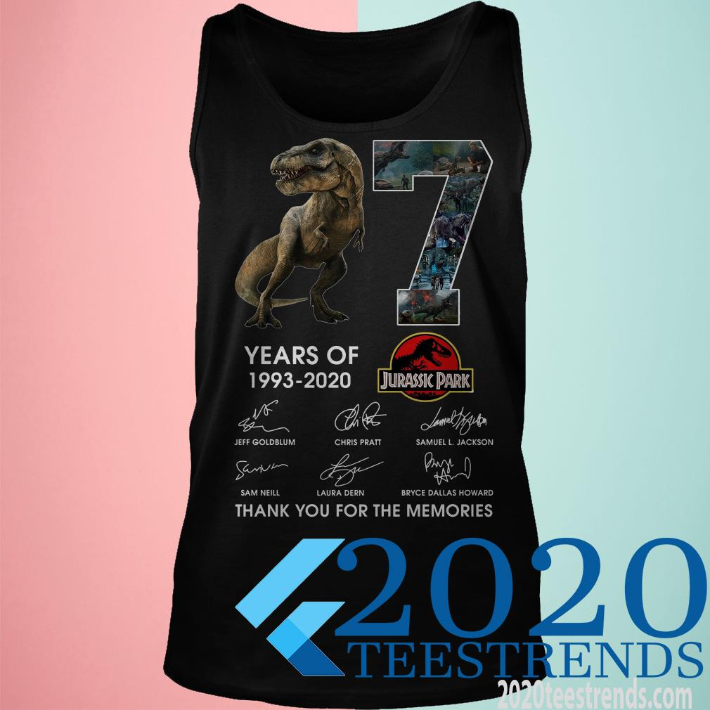 17 Years Of 1993 2020 Jurassic Park Thank You For The Memories Signatures Shirt