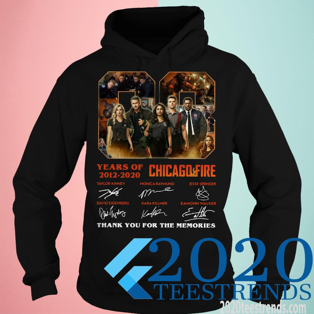 08 Year Of 2012 2020 Chicago Fire Thank You For The Memories Signature Shirt