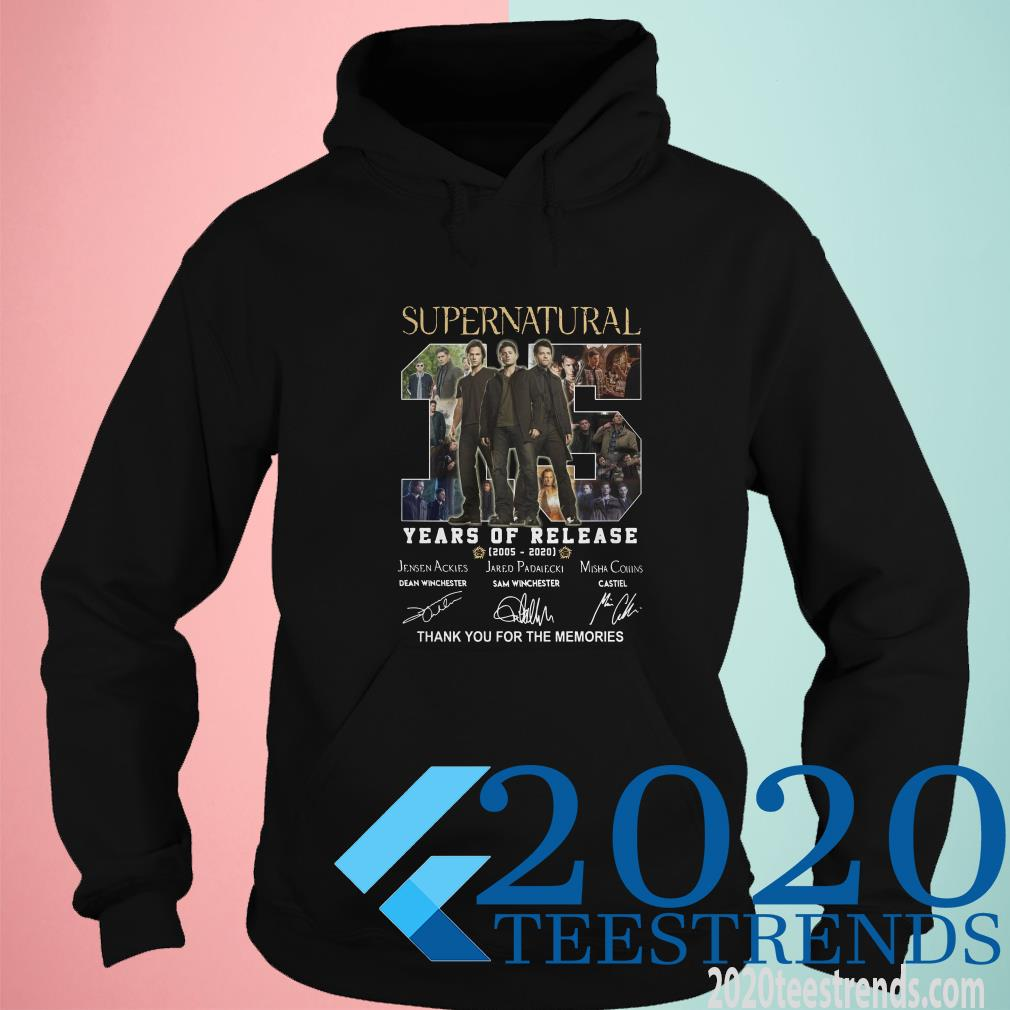 Supernatural 15 Years Of Release 2005-2021 Signatures Thank You For The Memories T-Shirt