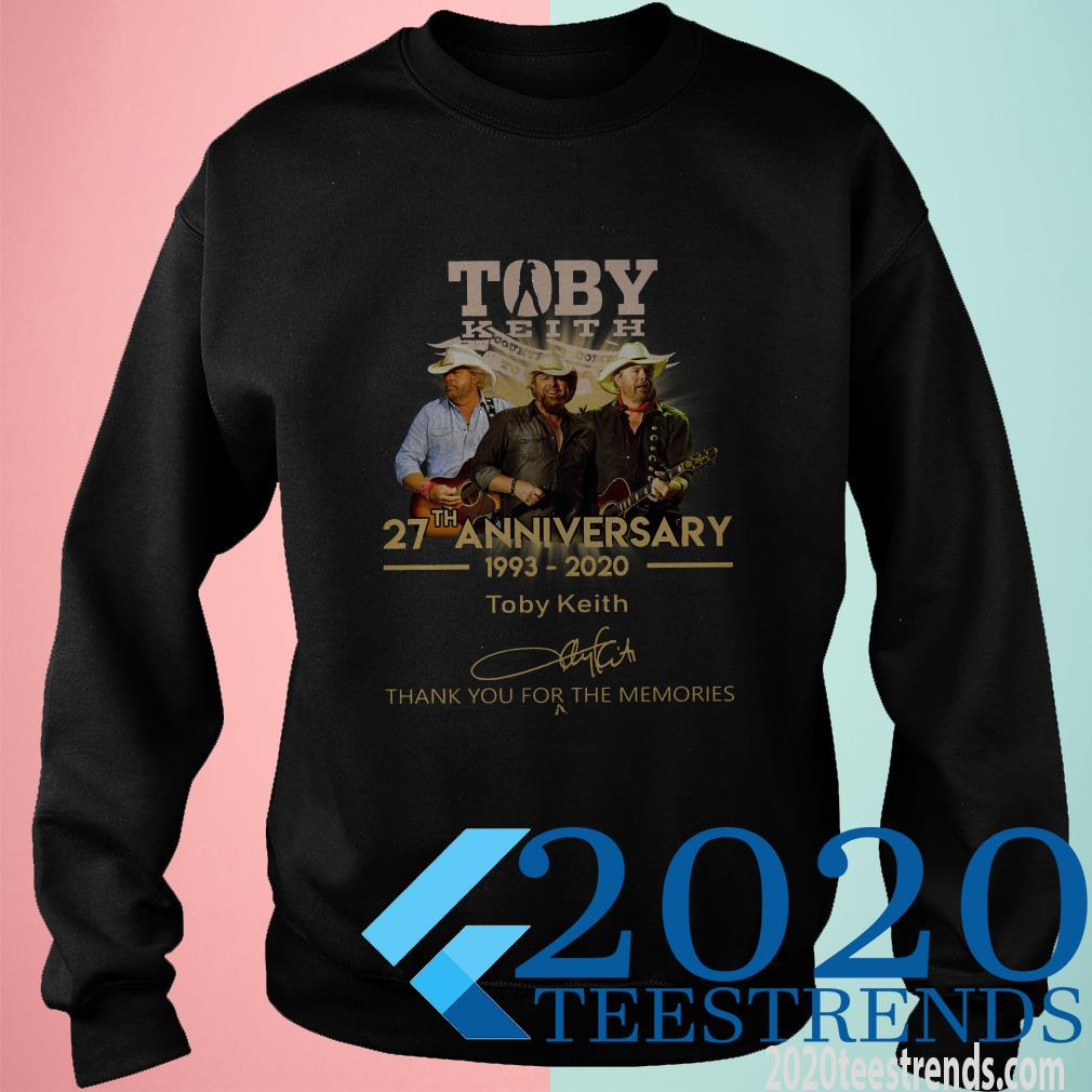 Toby Keith 27th Anniversary 1993 2020 Thank You For The Memories Signature T-Shirt