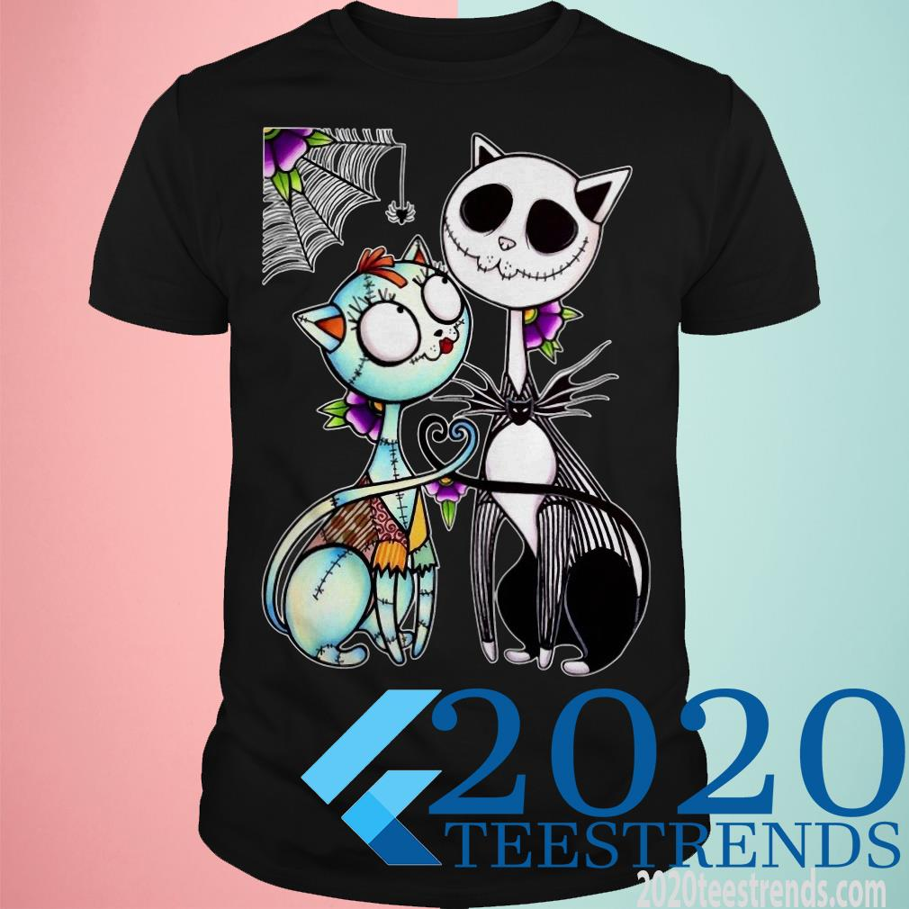 Cat Jack Skellington and Sally Happy Halloween Shirt
