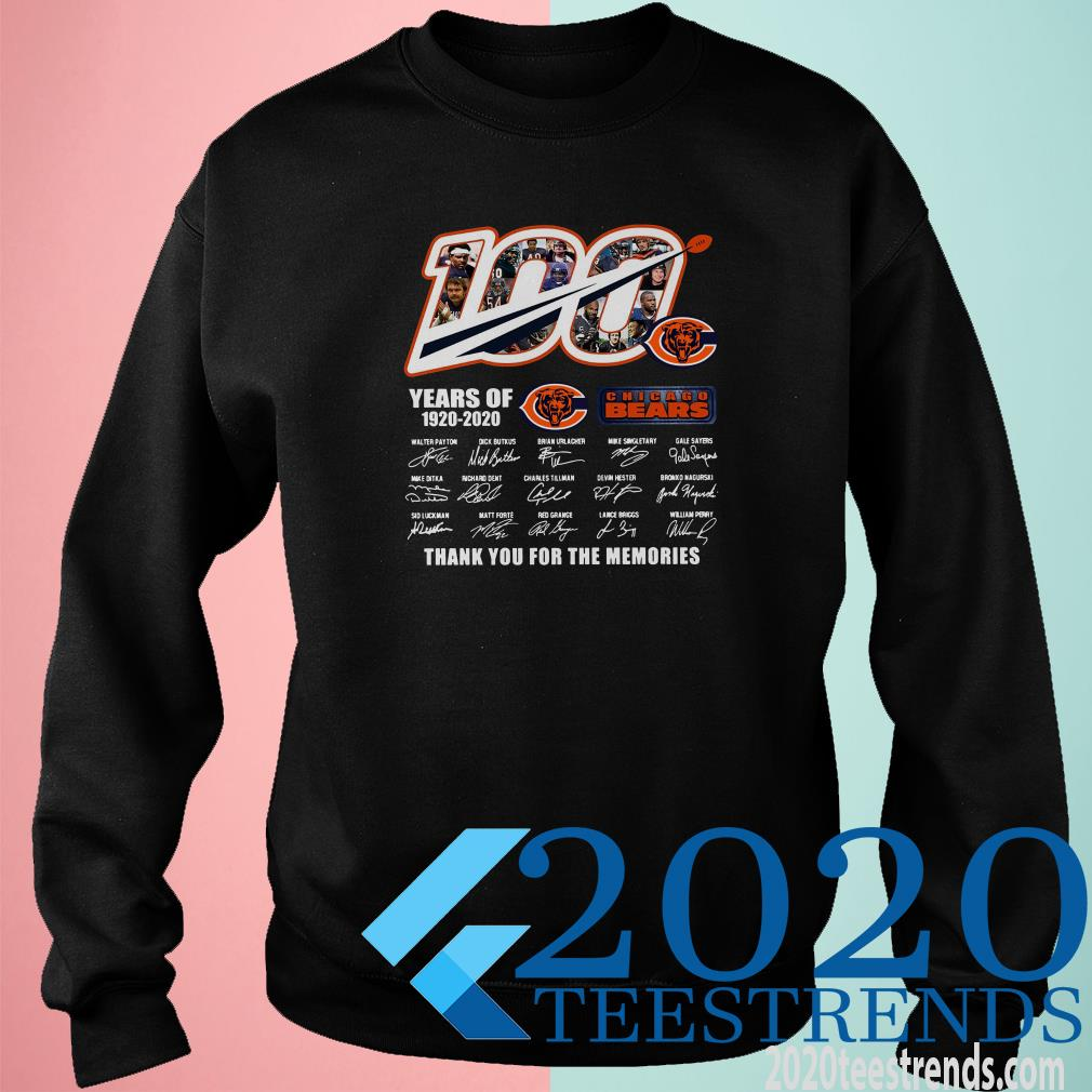 100 Chicago Bears Years Of 1920-2020 Thank You For The Memories Signature Sweater