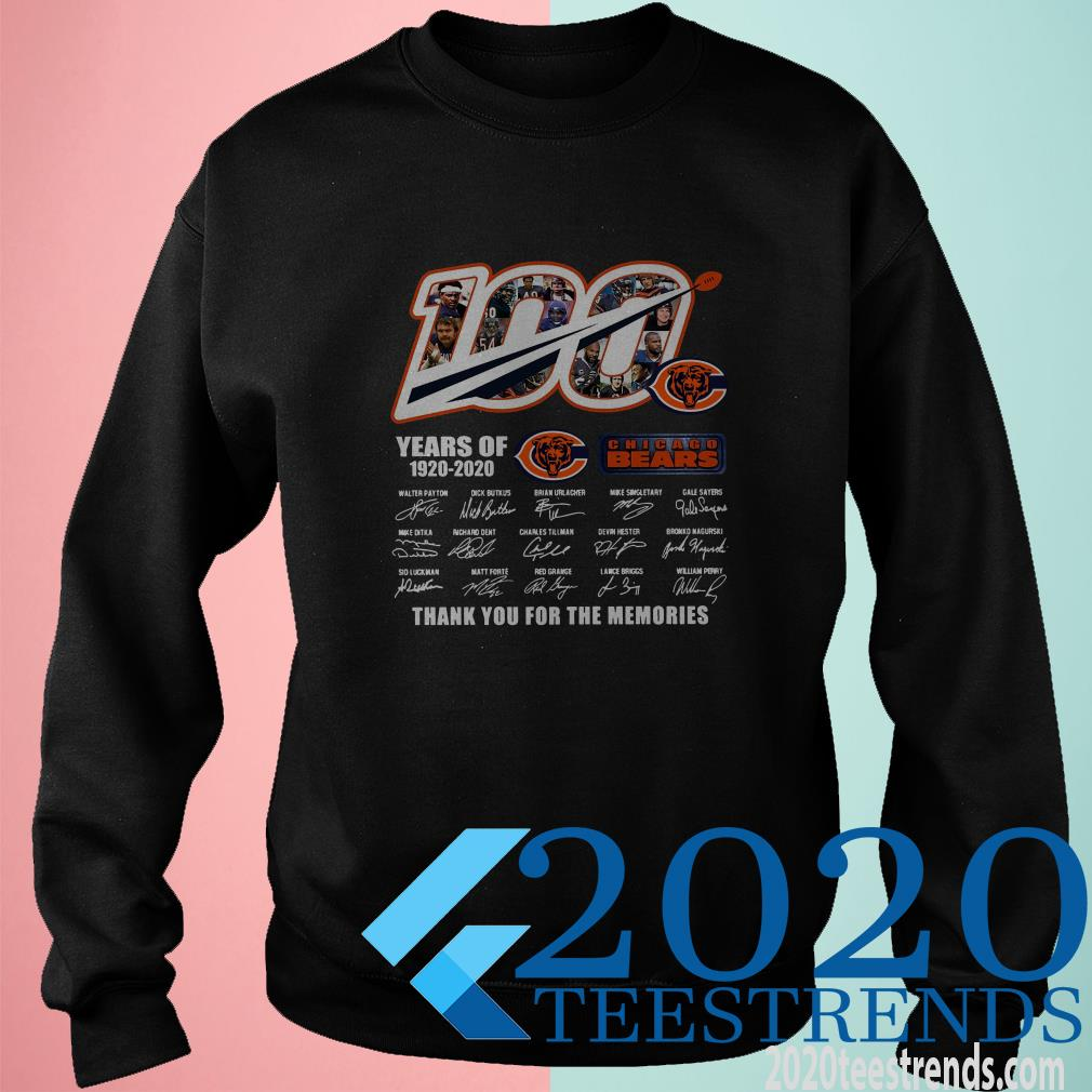 100 Chicago Bears Years Of 1920-2020 Thank You For The Memories Signature Shirt