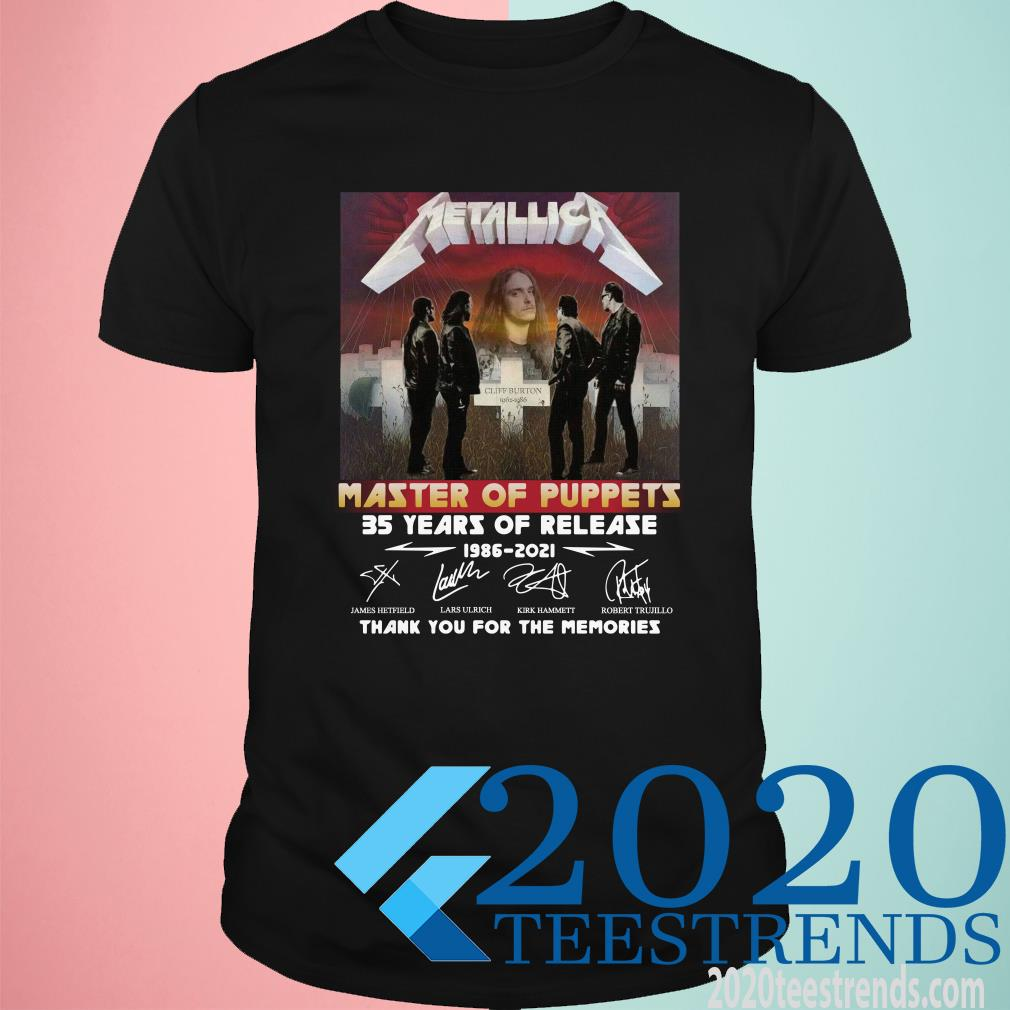 Metallica Master Of Puppets 35 Years Of Release Thank You For The Memories Signature Shirt