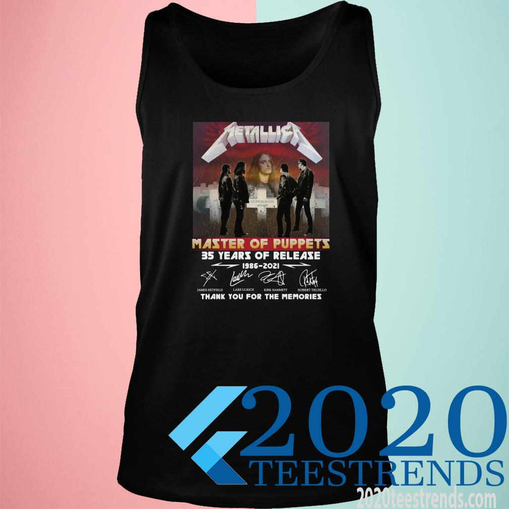 Metallica Master Of Puppets 35 Years Of Release Thank You For The Memories Signature Tanktop