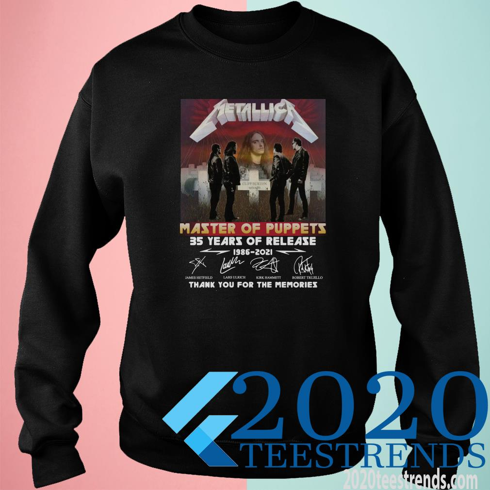 Metallica Master Of Puppets 35 Years Of Release Thank You For The Memories Signature Sweater
